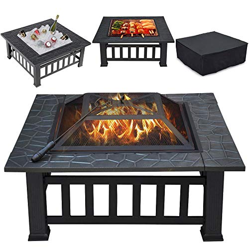 Yaheetech Garden Fire Pits,Large 3 in 1 Outdoor Metal Fire Pit Square Stove Brazier Patio Heater for Heating,Cooling Drinks with Spark Screen, Log Poker and Cover
