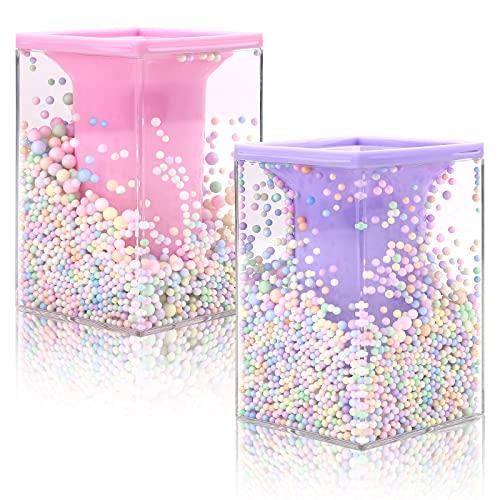 2 piezas lindo portalápices acrílico soporte para pinceles de maquillaje Portalápices con bola de espuma organizador de escritorio vasos cuadrados para lápices para adolescentes adultos Rosado morado