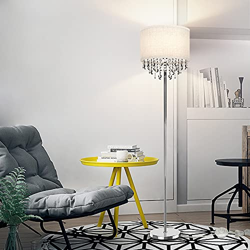 Depuley LED Floor Lamp, Modern Standing Lamp with Crystal Pendant Beads Deco, 3000K Warm White Eye-Caring Floor Light, Chrome Reading Floor Lamp for Living Room,Bedroom,Office,Hotel(9W E27 Bulb Incl)