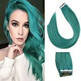 Sunny Teal Tape in Hair Extensions 100% Real Remy Human Hair Skin Weft