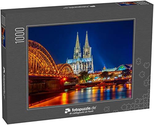 fotopuzzle.de Puzzle 1000 Teile Nachtansicht des Kölner Doms und der Hohenzollernbrücke über den Rhein, Deutschland