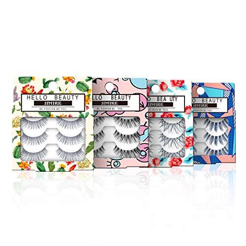 JIMIRE False EyelashesDemi Lashes Multipack - Natural Wispies Dramatic Glam Eyelashes 4 Packs