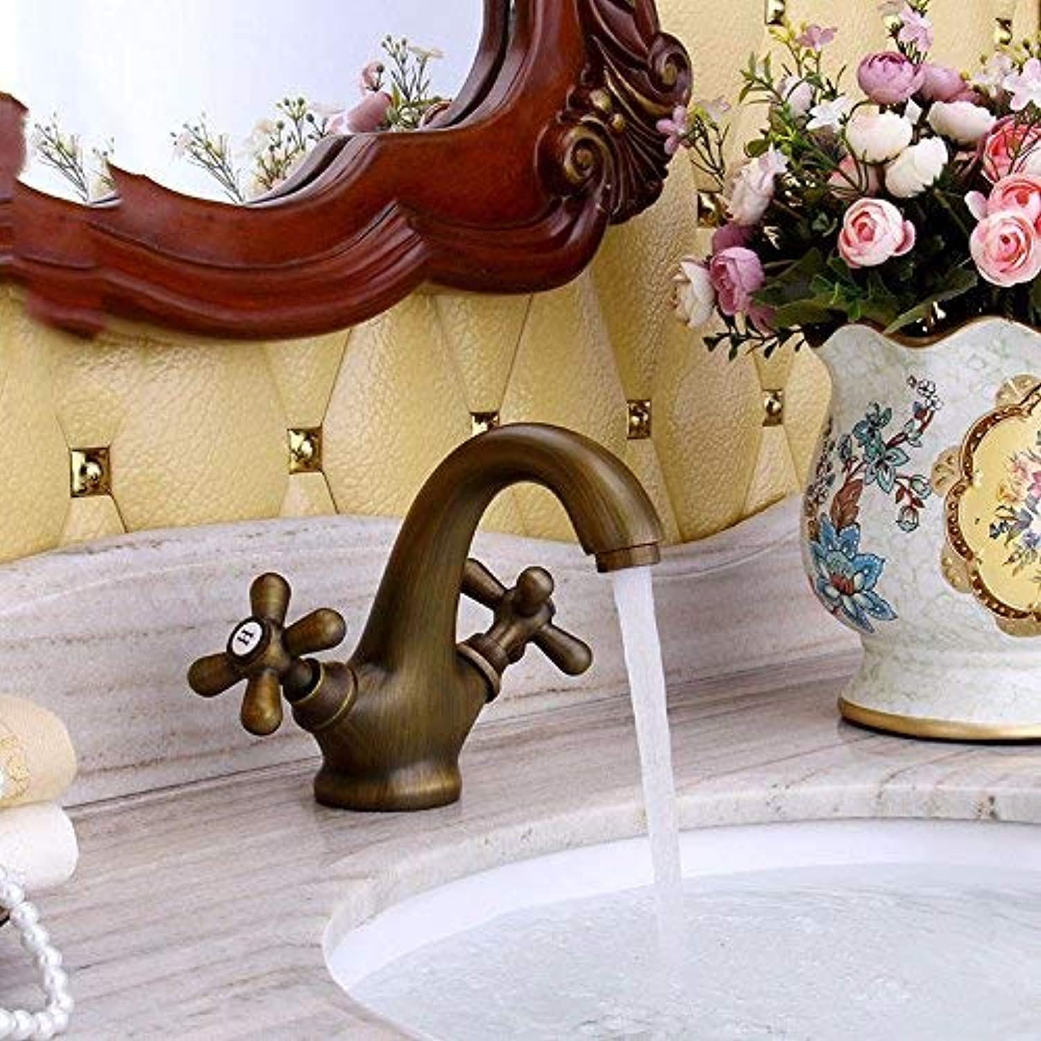 Oudan Sink Taps European and American retro style copper Wash your face Hot and cold Single hole Brushed Seated