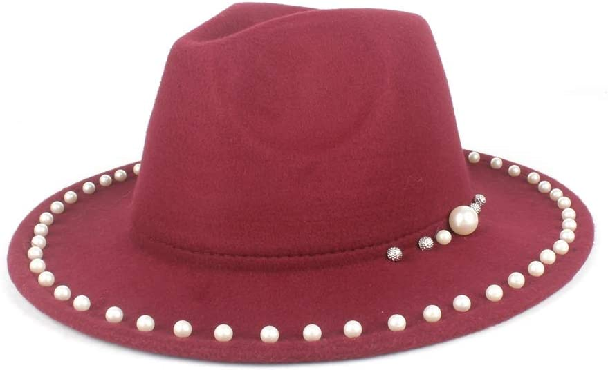 HXGAZXJQ Unisex Wide-Brimmed Panama Fedora Hat Wool Polyester Autumn Winter Pearls Decorated Elegant Sun Hat (Color : Wine red, Size : 56-58cm)