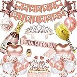 Wamiao Decoración de Fiesta de Cumpleaños de Oro Rosa,Feliz Cumpleaños Conjunto de Pancartas Globos De látex Cumpleaños Reina Faja y Corona de Tiara,Suministros de Cumpleaños para Niñas/Mujeres