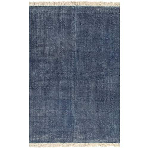 vidaXL Alfombra de Algodón Kilim 120x180cm Azul Alfombra Decoración Interior