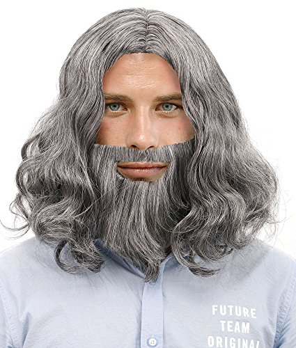 Men's Halloween Costume Cosplay Wavy Jesus Wig Beard Set and Free Wig Cap,Grey