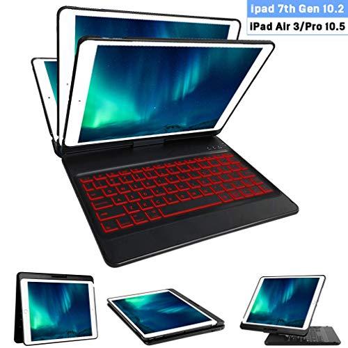 iPad Keyboard Case for iPad 7th Gen 10.2 2019, iPad Air 3rd Gen 10.5 2019, iPad Pro 10.5 2017-10 Color Backlit Wireless Keyboard- 360 Rotatable - iPad 7th Generation 10.2 Case with Keyboard