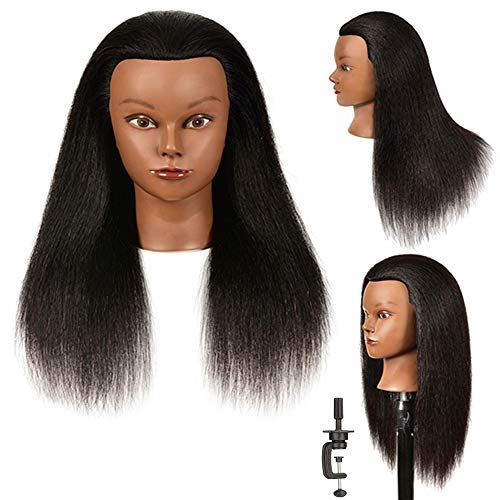 Mannequin Head 100% Real Hair for Hair Styling Hairdresser Cosmetology Practicing Doll Head with Free Clamp Afro Manikin Training Head for Practice Styling Braiding Hair Hairdresser Practice Head 14'