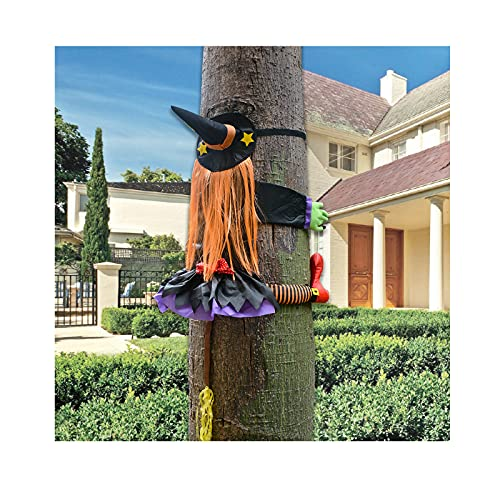 LISM Halloween Crashing Witch Into Tree Decorations Crashing Witch Into Wall Halloween Outdoor Decoration for Window…