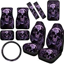 Purple Skull Car Accessories Set Front Bucket Car Seat Covers and Automotive Floor Mat, Console Armrest, Steering Wheels Cover, and Seat Belt Pads Set for Car SUV Truck & Van