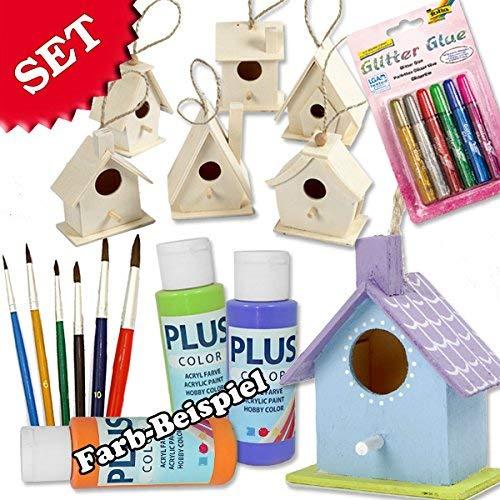 Vogelhaus Bastel-Set für Kinder mit 6 Vogelhäusern aus Holz, Colortime Bastelfarbe, Pinseln und Folia Glitzer-Kleber, zum selber gestalten, auch zum Kinder-Geburtstag eine farbenfrohe Beschäftigung