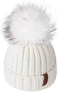 Kids Winter Knitted Pom Beanie Bobble Hat Cotton Lined Faux Fur Ball Pom Pom Cap Unisex..