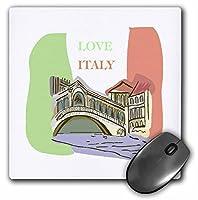 """3dローズ"""" Love Italy」マット仕上げマウスパッド–8x 8""""–MP 58538_ 1"""