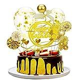 Herefun Cake Toppers, Topper de Magdalena de Acrílico en Estrella Purpurina Forma de Corazón Globos de Confeti Topper de Pastel de Happy Birthday de Topper Decoración de Tartas Niños Cumpleaños(A)