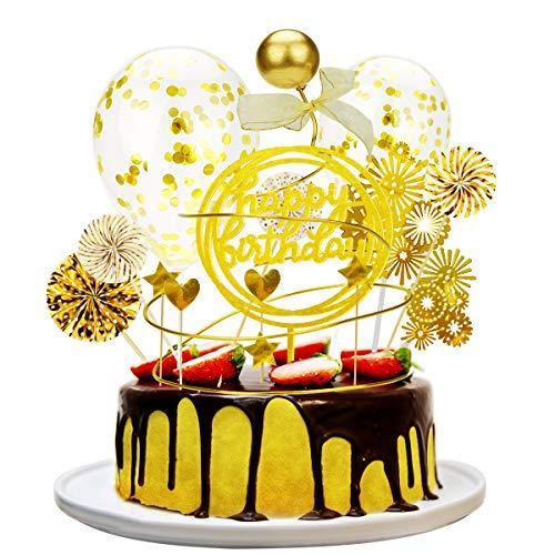 Herefun Golden Tortendeko Topper Satz, Glitzer Geburtstagshut Golden Konfetti Ballon Papierfächer Sternen Acryl Happy Birthday Topper Liebesherz Form Topper für Geburtstagsfeier Party Dekoration (A)