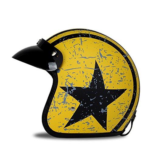 Woljay 3/4 Offener Sturzhelm, Helmet Motorrad-Helm Jet-Helm Scooter-Helm Vespa-Helm Halbhelme Motorrad Helm Flat mit Rebellen Star Graphic Schwarz Gelb (M)