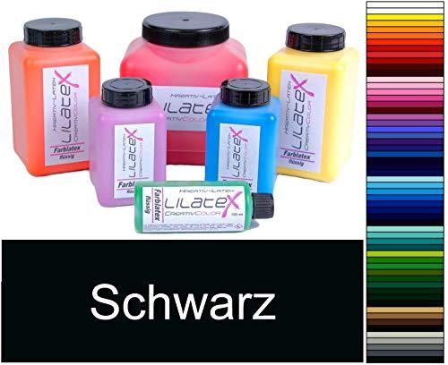 Lilatex 1 Liter farbiges extra-dickflüssiges Flüssiglatex/Farblatex/Latexmilch - extra-Dickes Naturlatex (Schwarz)