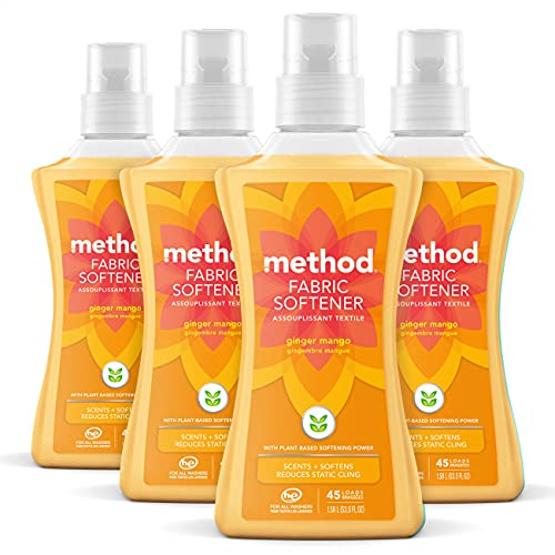 Method Fabric Softener, Ginger Mango, 53.5 Ounces, 45 Loads, 4 pack, Packaging May Vary