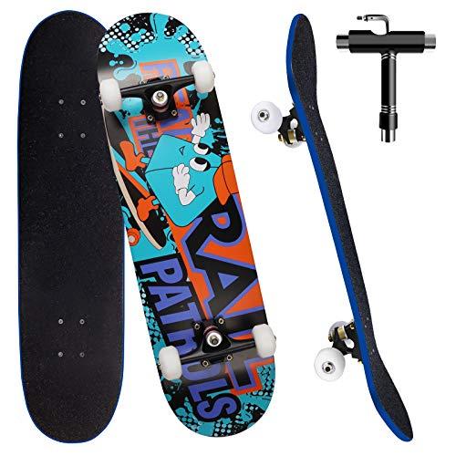 Skateboard per Principiante, 80x20 cm Skateboard Completo in Legno per Bambino Adolescenti Adulto, 7 Strati di Acero Doppio Kick Deck Concavo Trick Cruiser con lo strumento T Tutto in Uno (blu)