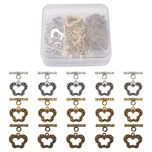 Fashewelry 30sets/Box 3 Colour Butterfly Toggle Clasps Tibetan Style T-Bar Closure Bracelet Jewellery Clasp 17x19mm for Necklace Bracelet Jewellery Making DIY Craft