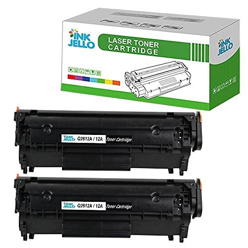 InkJello Compatibile Toner Cartuccia Sostituzione Per HP Laserjet 1010 1012 1015 1018 1020 1020 Plus 1022 1022n 1022nw 3015 (A-I-O) 3020 (A-I-O) 3030 (A-I-O) 3050 3052 3055 Q2612A (Nero 2-Pack)