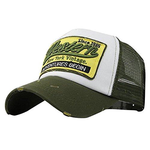 Fossen Verano Vintage Sombrero con Viseras Western Malla Gorras Beisbol para Hombres Mujeres (Verde)