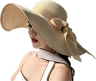 BZCSHOW Wide Brim Beach Hat for Women Big Bowknot Summer Straw Sun Hat Floppy Foldable Roll Up Hat Solid Hats Uv Protectio...