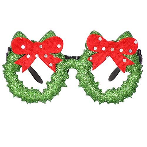 HWTOP Weihnachtsbrille Rahmen Cartoon Stereo Brillengestelle Erwachsene und Kinder Dekoration, Bogenknoten