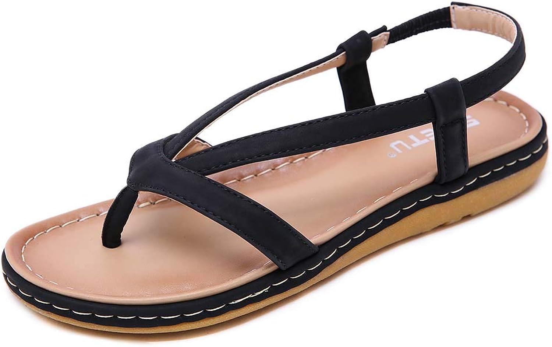 Women Summer Flat Clip Toe Sandals, Bohemia Style Flip Flops Casual Sandals shoes,Black,35