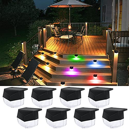 Solar Deck Lights 8 Pack RGB Outdoor Solar Step Lights Waterproof Solar Fence Lights Solar LED Stair Light Warm White Color Changing Mode for Stairs,Fence,Deck,Patio Yard,Pathway,Pool,Porch,Step