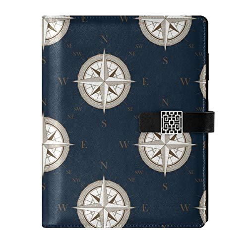 Cuaderno de notas de cuero para diario de viaje, con brújula, rellenable, tamaño A5, interior, con anillas, tapa dura, regalo para hombres y mujeres