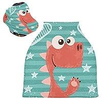漫画赤恐竜ベビーカーシートカバー、キャノピー看護カバー、幼児の授乳の男の子のためのソフト通気性防風スカーフチェンジパッド