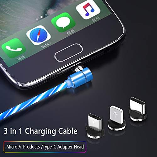 Kyerivs Magnetisches USB C Ladekabel, Aufladung Kabel 3-in-1mit Mikro Beleuchtung,mit Geführtem Sichtbarem Fließen Magnet USB Ladekabel Geeignet für Android Phone Samsung Galaxy