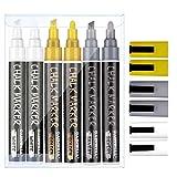 GAINWELL Bolígrafos de tiza metálica blanca, dorada y plateada W60 Punta redonda de 6mm con cincel - Paquete de 6 Marcadores de tiza para borrado en húmedo