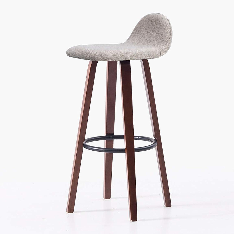 Carl Artbay Bar Chair Household Bar Stool Modern Bar Chair Solid Wood Nordic High Stool Brown Legs 5 Strong and Practical