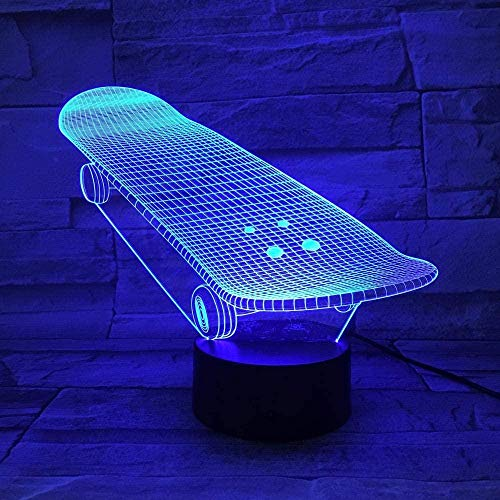 3D Illusionslampe LED Nachtlicht Bestseller Skateboard Sliding Plate Batteriebetrieben Modernes Geschenk für Kinder Dekorativ