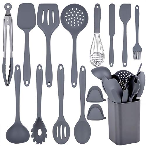 Silicone Cooking Utensils Set, 15pcs Kitchen Utensil Set, Non-stick, High Heat Resistant to 446°F, Kitchen Gadgets Cookware Set of One Piece Design, Kitchen Tools with