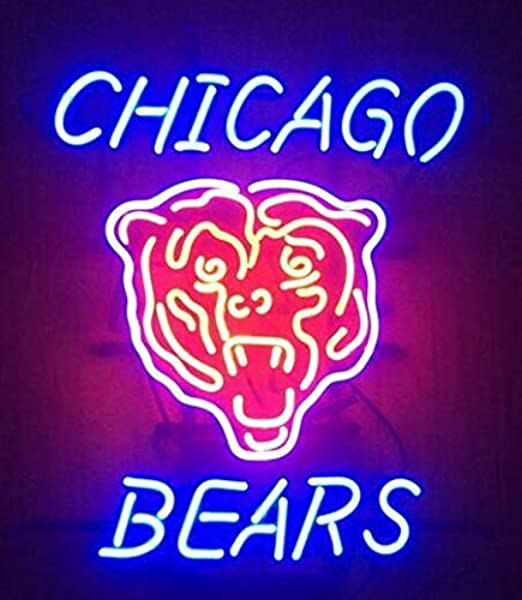 Queen Sense 20 X16 Chi CAGO Bear Neon Sign Beer Bar Pub Man Cave Business Glass Lamp Light DA02