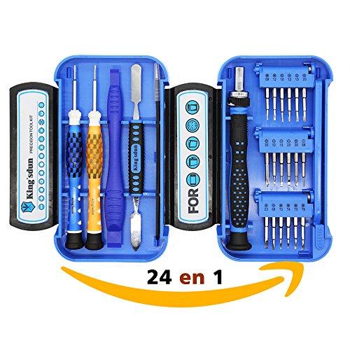 Kingsdun 24 en 1 destornilladores precision profesional ,kit movil reparacion Herramientas de Precisión para iPhone 7, teléfono, Tableta Reloj etc con mini caja diy de herramientas