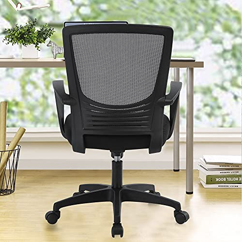 Home Office Chair, Ergonomic Desk Chair with Rocking Back, Mid-Back Mesh Computer Chair with Adjustable Height, Drafting Chair, Black