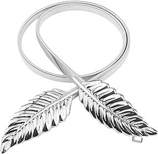 Elastic chain waist chain leaf decoration buckle belt New women's belt (Color : Silver, Size : 73cm)