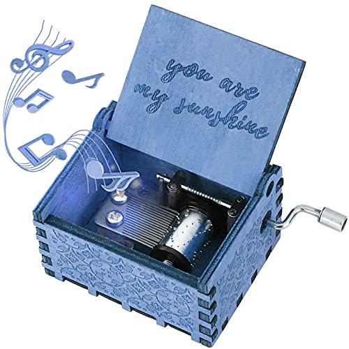 Carillon meccanico classico, vintage, con manovella, per Natale, compleanno, carillon, carillon in legno