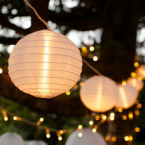 Lights4fun 10er XL LED Lampion Lichterkette warmweiß koppelbar Strombetrieb