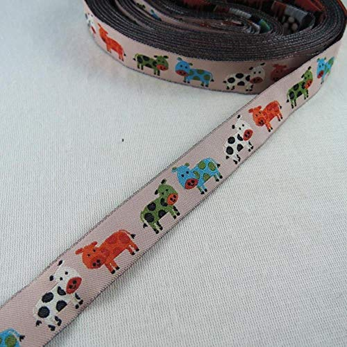 ALENAOO 24 Cow Duckling Großhandel 5/8 \'(16 mm x 5 Yards) Polyester gewebtes Jacquard-Band mit Dackel Hund für Hundehalsband, 1 Kuh, 16 mm