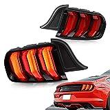 Vland - Luces traseras LED completas para Mustang GT Five modelos 2015 2016 2017 2018 2019 2020 luces traseras intermitentes con indicador secuencial (lente roja)
