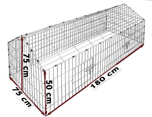 Kaninchenstall Hasenkäfig Hasengehege Hasenstall Sonnenschutz Käfig Freilauf Gehege Metall - 2