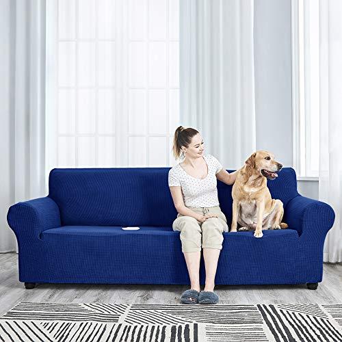 AlGaiety Funda elástica para sofá de 1 pieza, protector de muebles de licra (94 a 126 pulgadas), 4 Steater Slip Cover para perros, gatos, tela a cuadros de gran tamaño (XX grande, azul clásico)