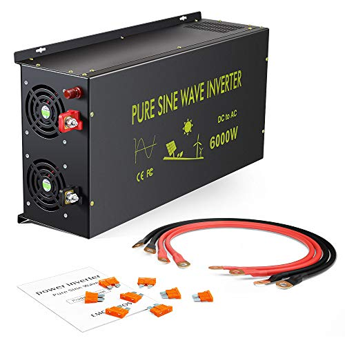 Reliable 6000W Continuous Power Heavy Duty Pure Sine Wave Power Inverter DC 36V to AC 110V 120V with 4 AC Outlets 50Amps Hardwire Terminal and LED Display for RV Car Solar System Emergency