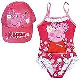 ARTESANIA Y DISEÑO TEXTIL, S.A. Bañador Peppa Pig para Playa o Piscina + Gorra Peppa Pig para niñas (Fucsia, 4 años)